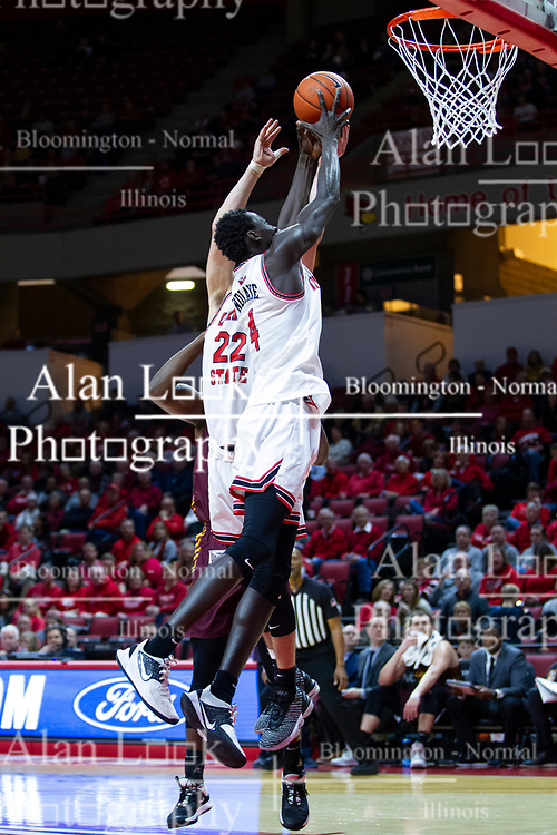 NORMAL, IL - January 19: Abdou Ndiaye grabs a defensive rebound during a college basketball game between the ISU Redbirds and the Loyola University Chicago Ramblers on January 19 2020 at Redbird Arena in Normal, IL. (Photo by Alan Look)