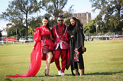 07062018 (Durban) Lala Hariyama, David Tlale and Dj Zinhle arriving in style the adrenaline of Vodacom Durban July flowing like water among the massive crowd expected at Greyville Racecourse in Durban for the running of the R4.25 million, Grade 1, Vodacom Durban July, the greatest racing, fashion and entertainment extravaganza on the African continent.<br /> Picture: Motshwari Mofokeng/African News Agency/ANA