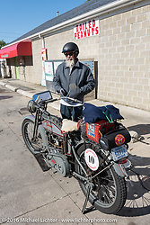 Bill Page of Kansas with his single-cylinder 1915 Harley-Davidson class-2 motorcyle at a gas stop during the Motorcycle Cannonball Race of the Century. Stage-4 from Chillicothe, OH to Bloomington, IN. USA. Tuesday September 13, 2016. Photography ©2016 Michael Lichter.