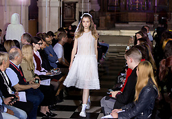 Models on the catwalk during the Ryan LO at London Fashion Week SS18 show held at St Sepulchre-without-Newgate Church, London. PRESS ASSOCIATION. Picture date: Friday September 15, 2017. Photo credit should read: Isabel Infantes/PA Wire