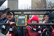Special Olympics Illinois athletes are weighed in at 1580 pounds during a presentation with Professional Bull Riding  (PBR) 2020 Tour and Special Olympics Illinois (SOILL) in Chicago, Friday, Jan. 10, 2020, in Chicago in Maggie Daley Park. (Max Siker/Image of Sport via AP)