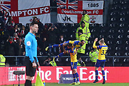 Southampton midfielder Nathan Redmond (22) scores a goal and celebrates 2-0 during the The FA Cup 3rd round match between Derby County and Southampton at the Pride Park, Derby, England on 5 January 2019.
