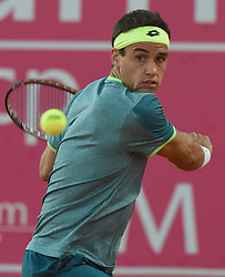 LISBON, May 4, 2018  Argentina's Nicolas Kicker returns the ball during second round match of Estoril Open Tennis tournament against Spain's Pablo Carrreno Busta in Cascais, near Lisbon, Portugal, May 3, 2018. (Credit Image: © Zhang Liyun/Xinhua via ZUMA Wire)