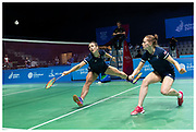 Woman's badminton doubles Lauren Smith and Chloe Birch at The 2019 Minsk European Games. Shot for Team GB & Lumix UK