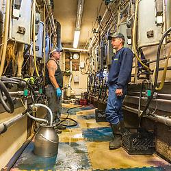 Jason Scruton (right) with a farm worker in the barn at his dairy farm in Farmington, New Hampshire.