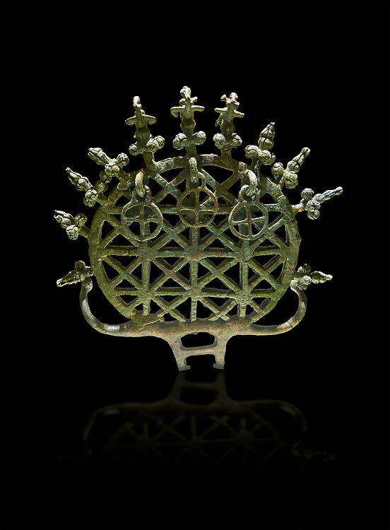 """Bronze Age Hattian ceremonial standard known as """"Sun Disks"""" from Bronze Age grave BM (2500 BC to 2250 BC), possibly a Royal grave - Alacahoyuk - Museum of Anatolian Civilisations, Ankara, Turkey. Against a black background .<br /> <br /> If you prefer to buy from our ALAMY PHOTO LIBRARY  Collection visit : https://www.alamy.com/portfolio/paul-williams-funkystock/royal-tombs-alaca-hoyuk-bronze-age.html (TIP refine search by adding background colour in the LOWER search box)<br /> <br /> Visit our ANCIENT WORLD PHOTO COLLECTIONS for more photos to download or buy as wall art prints https://funkystock.photoshelter.com/gallery-collection/Ancient-World-Art-Antiquities-Historic-Sites-Pictures-Images-of/C00006u26yqSkDOM"""