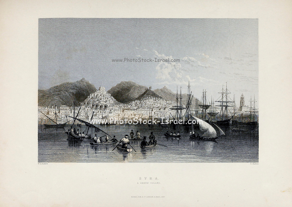 Syra [Syros or Siros or Syra is a Greek island in the Cyclades, in the Aegean Sea. It is located 78 nautical miles (144 km) south-east of Athens]. from Volume 2 of Syria, the Holy Land, Asia Minor, &c. by Carne, John, 1789-1844; Illustrated by Bartlett, W. H. (William Henry), 1809-1854, and Allom, Thomas, 1804-1872 Published in London in 1837