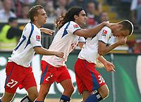 Jubel 1:1 v.l. Alexander Laas, Juan Pablo Sorin, Danijel Ljuboja HSV<br /> Bundesliga Eintracht Frankfurt - Hamburger SV<br />  Norway only
