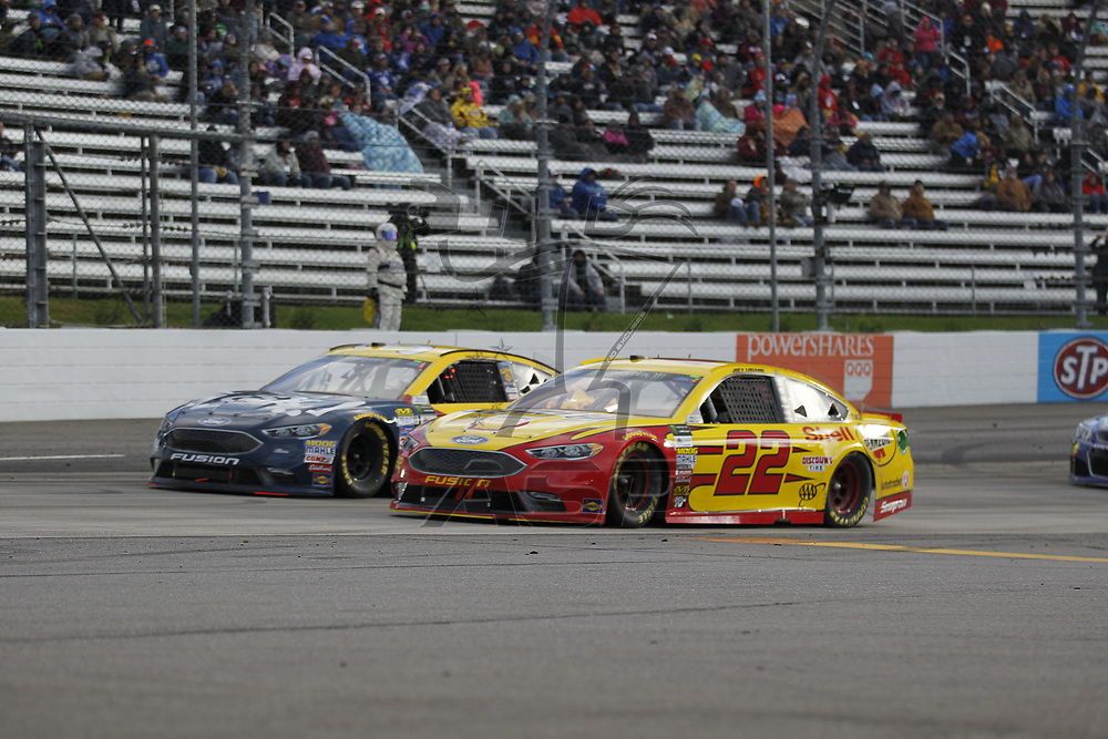 October 29, 2017 - Martinsville, Virginia, USA: Joey Logano (22) battles for position during the First Data 500 at Martinsville Speedway in Martinsville, Virginia.