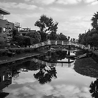 Early morning view  of the canals in Venice California