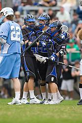 15 March 2008: Duke Blue Devils men's lacrosse attackman Matt Danowski (40), midfielder Ned Crotty (22), attackman Max Quinzani (8) in a 19-9 win over the North Carolina Tar Heels at Koskinen Stadium in Durham, NC.