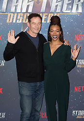 (left to right) Jason Isaacs and Sonequa Martin-Green attend the Star Trek: Discovery special fan screening photocall at Millbank Tower on Sunday, 5th November..Picture dated: Sunday November 5, 2017. Photo credit should read: Isabel Infantes / EMPICS Entertainment.