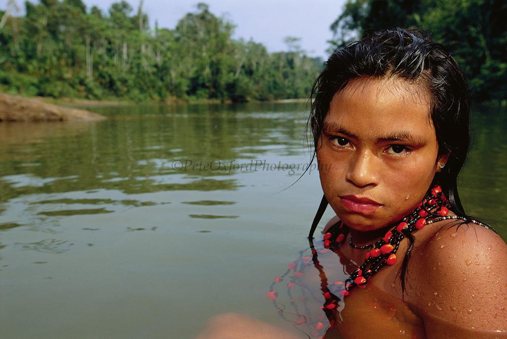 Machiguenga Indian Bathing<br />Timpia Community, Lower Urubamba River<br />Amazon Rain Forest, PERU.  South America