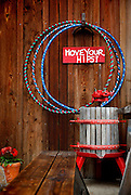 SHOT 5/29/13 3:24:13 PM - Hula hoops and a vintage grape or wine press outside the tasting room at AniChe Cellars in Underwood, Washington. AniChe Cellars is a small family winery located in Underwood, WA and the beautiful Columbia River Gorge. AniChe's wines are almost entirely varietal blends. The grapes come from Washington state's plethora of renowned AVA's, including our very own Columbia Gorge AVA. (Photo by Marc Piscotty / © 2013)