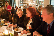 CHAR PILCHER; CAMILLA LOWTHER; STEPHEN QUINN, Leaving dinner for Kate Phelan given by Alex Shulman and Mary Homer. Riding House Cafe. Great Titchfield st. London. 20 September 2011. <br /> <br />  , -DO NOT ARCHIVE-© Copyright Photograph by Dafydd Jones. 248 Clapham Rd. London SW9 0PZ. Tel 0207 820 0771. www.dafjones.com.