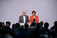 06 DEC 2019, BERLIN/GERMANY:<br /> Norbert Walter-Borjans (R), SPD, Minister a.D., Kandidat fur das Amt des Parteivorsitzenden, Saskia Esken (L), MdB, SPD, Kandidatin fuer das Amt der Parteivorsitzenden, nach ihren Bewerbungsreden und vor der Wahl der Parteivorsitzenden, SPD Bundesprateitag, CityCube<br /> IMAGE: 20191206-01-045<br /> KEYYWORDS: Party Congress, Parteitag, klatschen, applaudieren, Applaus