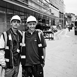 2 days before Liverpool One was set to open I met up with a couple of local lads who had worked on various buildings.  They had contributed to John Lewis and Debenhams, along with a few other smaller stores.  On the left is Anthony Cuddy, and on the right is Jay Ramzan.  Both local guys who were happy to have worked on making Liverpool better.