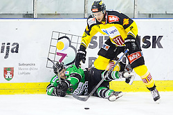02.11.2014, Hala Tivoli, Ljubljana, SLO, EBEL, HDD Telemach Olimpija Ljubljana vs UPC Vienna Capitals, 16. Runde, in picture Tom Zanoski (HDD Telemach Olimpija, #10) vs Brett Carson (UPC Vienna Capitals, #7) during the Erste Bank Icehockey League 16. Round between HDD Telemach Olimpija Ljubljana and UPC Vienna Capitals at the Hala Tivoli, Ljubljana, Slovenia on 2014/11/02. Photo by Matic Klansek Velej / Sportida