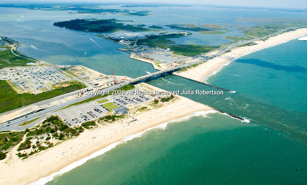 Aerial view of the Indian River Inlet and Bridge area of Sussex County Delaware