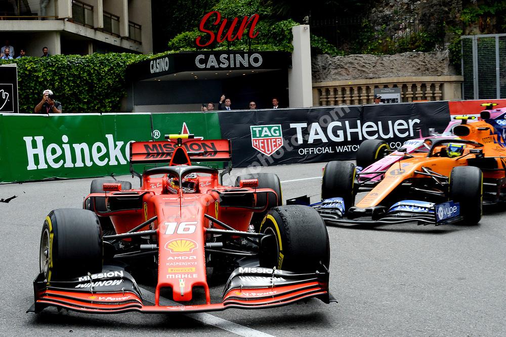 Puncture of Charles Leclerc (Ferrari) while leading Lando Norris (McLaren-Renault) during the 2019 Monaco Grand Prix. Photo: Grand Prix Photo