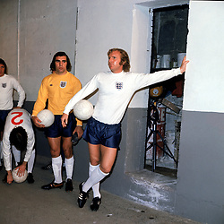 England captain Bobby Moore (r) relaxes in the Wembley tunnel before the match as goalkeeper Peter Shilton (l) looks on