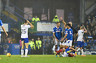 Mansfield Town Defender, Alex Lacovitti (25) is shown the red card for a foul on Portsmouth Midfielder, Michael Doyle (8) during the EFL Sky Bet League 2 match between Portsmouth and Mansfield Town at Fratton Park, Portsmouth, England on 12 November 2016. Photo by Adam Rivers.