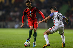 November 15, 2017 - Na - Leiria, 11/14/2017 - The National Soccer Team received tonight its United States counterpart at the Municipal Stadium of Leiria Dr. Magalhães Pessoa in preparation for the 2018 World Cup in Russia. Bruno Fernandes and Eric Lichaj  (Credit Image: © Atlantico Press via ZUMA Wire)