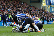 Sheffield Wednesday striker Fernando Forestieri (45) and players celebrate the second goal 2-0 during the Sky Bet Championship match between Sheffield Wednesday and Cardiff City at Hillsborough, Sheffield, England on 30 April 2016. Photo by Ellie Hoad.