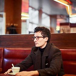 "Alexandre Brandy, author / writer (""Il y a longtemps que je mens""), posing in Le Rouquet, a cafe in the Saint-Germain neighborhood. Paris, France. January 23, 2018.<br /> Alexandre Brandy, auteur et ecrivain (""Il y a longtemps que je mens""), pose au Rouquet, un cafe dans le quartier Saint-Germain. Paris, France. 23 janvier 2018."