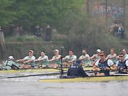 Putney, London, Varsity Boat Race, 07/04/2019, Embankment, Oxford V Cambridge, Men's Race, CUBC,  Crew, Dave BELL, <br /> James CRACKNELL, <br /> Grant BITLER, <br /> Dara ALIZADEH, <br /> Cullum SULLIVAN, <br /> Sam HOOKWAY, <br /> Freddie DAVIDSON, <br /> Natan WEGRZYCHI-SZYMCZYK, <br /> Cox, Matthew HOLLAND, stretch the lead, Championship Course,<br /> [Mandatory Credit: Patrick WHITE], Sunday,  07/04/2019,  3:26:56 pm,