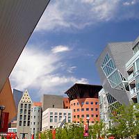 USA, Colorado, Denver. Denver Art Museum park.
