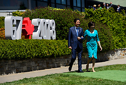 Japan Prime Minister Shinzo Abe and wife Akie Abe make their way to Prime Minister Justin Trudeau and wife Sophie Gregoire Trudeau to be greeted during the official welcoming ceremony at the G7 Leaders Summit in La Malbaie, Quebec, Canada on Friday, June 8, 2018. Photo by Sean Kilpatrick/CP/ABACAPRESS.COM