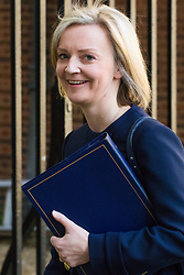 Downing Street, London, April 25th 2017. Justice Secretary and Lord Chancellor Liz Truss leaves the weekly cabinet meeting at 10 Downing Street in London. Credit: ©Paul Davey