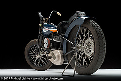 Matt Olsen of Carl's Cycle Supply's 1946 Harley-Davidson WR flathead racer. Photographed by Michael Lichter in Sturgis, SD on August 1 2017. ©2017 Michael Lichter.