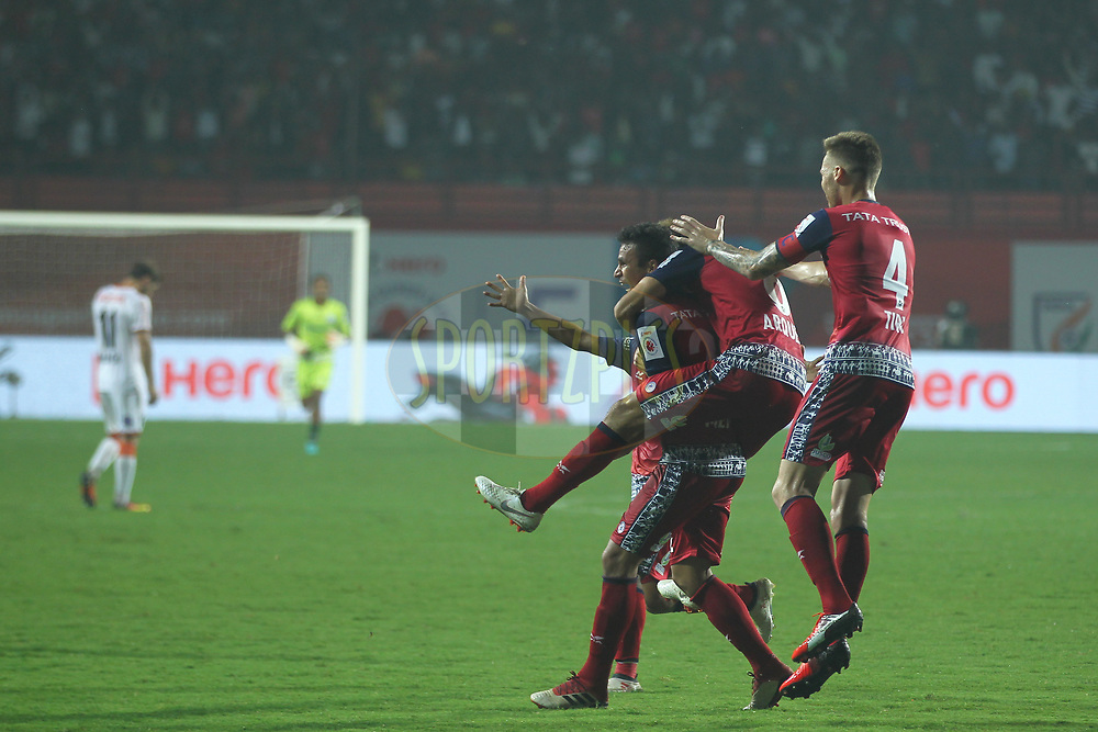 Memo of Jamshedpur FC celebrates the goal with team players during match 25 of the Hero Indian Super League 2018 ( ISL ) between Jamshedpur FC and FC Goa held at JRD Tata Sports Complex, Jamshedpur, India on the 1st November  2018<br /> <br /> Photo by: Deepak Malik /SPORTZPICS for ISL