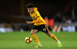"""Wolverhampton Wanderers' Morgan Gibbs-White during the Premier League match at Molineux, Wolverhampton. PRESS ASSOCIATION Photo. Picture date: Tuesday January 29, 2019. See PA story SOCCER Wolves. Photo credit should read: David Davies/PA Wire. RESTRICTIONS: EDITORIAL USE ONLY No use with unauthorised audio, video, data, fixture lists, club/league logos or """"live"""" services. Online in-match use limited to 120 images, no video emulation. No use in betting, games or single club/league/player publications."""