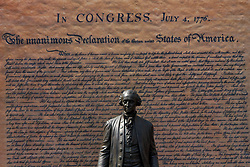 July 4, 2018 - Philadelphia, Pennsylvania, U.S.- A statue of Thomas Jefferson is seen in front of a large print of the Declaration of Independence during the Celebration of Freedom ceremony, held annually at Independence Hall where the real document was signed in the summer of 1776. (Credit Image: © Michael Candelori via ZUMA Wire)