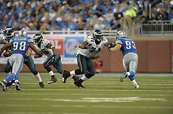 DETROIT - SEPTEMBER 19: Tackle Jason Peters #71 of the Philadelphia Eagles blocks during the game against the Detroit Lions on September 19, 2010 at Ford Field in Detroit, Michigan. (Photo by Drew Hallowell/Getty Images)  *** Local Caption *** Jason Peters