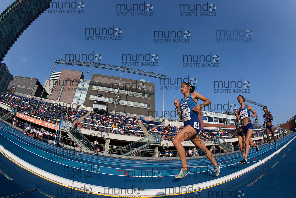 Toronto, ON -- 11 August 2018: Left to right, Rochelle Kanuho (USA), Sarah Pagano (USA), 10, 000m at the 2018 North America, Central America, and Caribbean Athletics Association (NACAC) Track and Field Championships held at Varsity Stadium, Toronto, Canada. (Photo by Sean Burges / Mundo Sport Images).