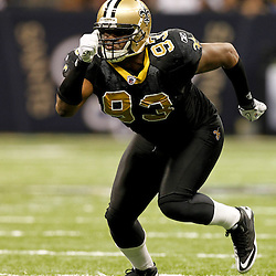 December 4, 2011; New Orleans, LA, USA; New Orleans Saints defensive end Junior Galette (93) against the Detroit Lions during a game at the Mercedes-Benz Superdome. The Saints defeated the Lions 31-17. Mandatory Credit: Derick E. Hingle-US PRESSWIRE