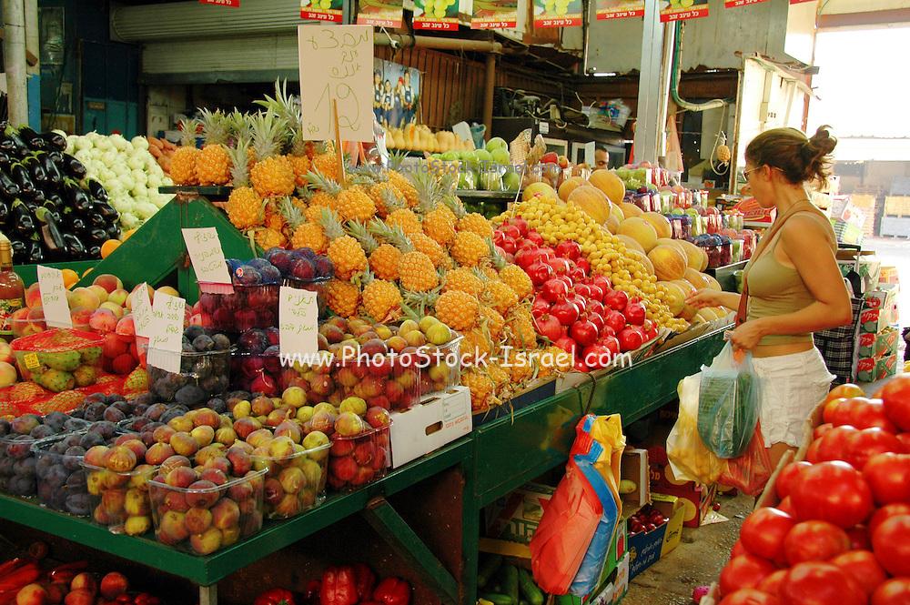 Tel Aviv, Israel, A fruit stall at the Carmel Market