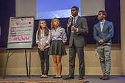 Purchase, NY – 31 October 2014. Part of the team from Woodlands High School. (Left to right:  Alex Jarmatz, Jillian Berridge, Akibo Watson, Awa Nymabi.) Woodlands High School went on to place second in the 2014 competition. The Business Skills Olympics was founded by the African American Men of Westchester, is sponsored and facilitated by Morgan Stanley, and is open to high school teams in Westchester County.