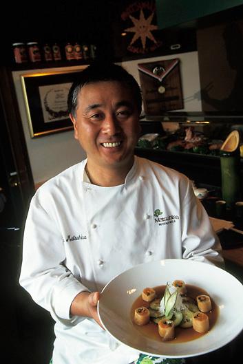 master chef Nobu Matsuhisa in his restaurant in Los Angeles