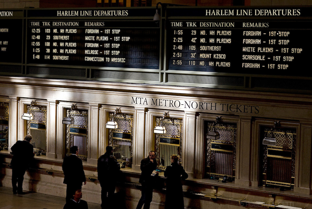 Commuters, especially businessmen who commute from wealthy towns in Connecticut, use Grand Central Terminal in New York City as their hub for getting back and forth to offices in Manhattan as seen Tuesday Nov. 11, 2008.
