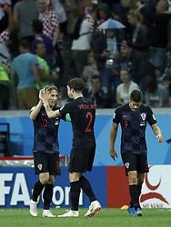 (L-R) Luka Modric of Croatia, Sime Vrsaljko of Croatia, Andrej Kramaric of Croatia during the 2018 FIFA World Cup Russia group D match between Argentina and Croatia at the Novgorod stadium on June 21, 2018 in Nizhny Novgorod, Russia