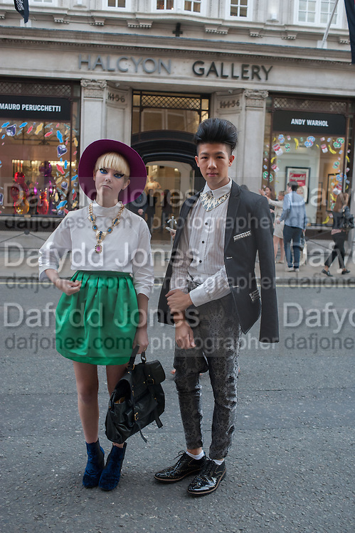 STELLA KATTERMANN; TONY TRAN, Vogue's Fashion night out special opening of the Halcyon Gallery.  New Bond St. London. 6 December 2012.