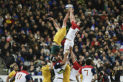 November 19, 2016 - Saint Denis, France - France's N°8 Louis Picamoles (R) grabs the ball next to Australia's second row Rob Simmons (L) during the rugby union test match between France and Australia at the Stade de France in Saint-Denis, outside Paris, on November 19, 2016. (Credit Image: © Geoffroy Van Der Hasselt/NurPhoto via ZUMA Press)