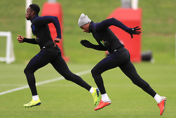 England's Danny Welback (left) and Marcus Rashford during the training session at St Georges' Park, Burton. PRESS ASSOCIATION Photo. Picture date: Monday September 10, 2018. See PA story SOCCER England. Photo credit should read: Mike Egerton/PA Wire. RESTRICTIONS: Use subject to FA restrictions. Editorial use only. Commercial use only with prior written consent of the FA. No editing except cropping.