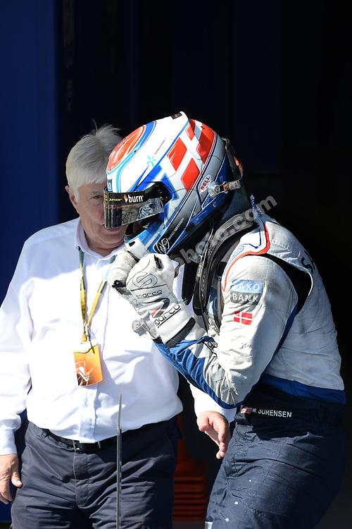 Marco Sorensen celebrates his win in the GP2 race in Sochi in October 2014 with Herbie Blash (FIA). Photo: Grand Prix Photo