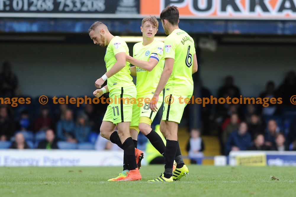 Peterboroughs Marcus Maddison celebrates scoring the equalising goal for Peterborough to set the score at 1-1 during the Sky Bet League 1 match between Southend United and Peterborough at Roots Hall in Southend. October 1, 2016.<br />Holly  Allison / Telephoto Images<br />+44 7967 642437